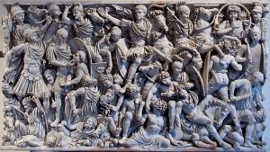 Sarcofago Grande Ludovisi, altorilievo che mostra una battaglia Romani VS Sbabbari